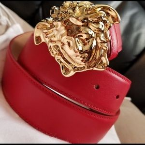 Versace red leather gold medusa head buckle belt